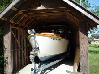 Boat in garage